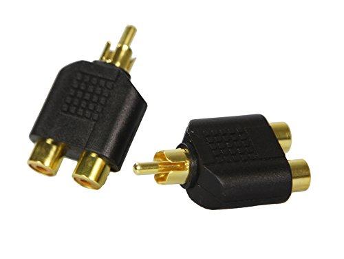 COM-FOUR® AUX-Y-Adapter Splitter 1 Cinch Stecker auf 2 Cinch Buchsen Audio AV-Stecker - 2 Stück