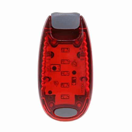 Starnearby LED luci per bicicletta, 5LED bici luce posteriore posteriore di sicurezza zaino running luci (rosso)
