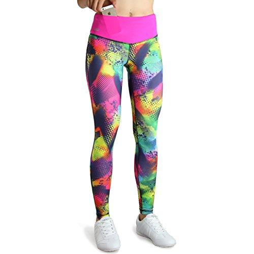 Formbelt® Damen Laufhose mit Tasche lang - leggins stretch-hose hüfttasche für Smartphone Iphone Handy Schlüssel (Mehrfarbig Brazil M)