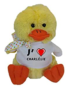 Peluche canard avec J'aime Charlélie T-shirt (Noms/Prénoms)