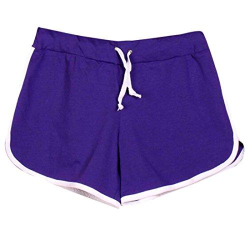 QIYUN.Z Les Femmes a Taille Coulissee Coton Shorts De Plage Sports De Plein Air Occasionnels Pantalons Courts Pourpre