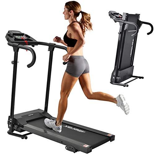 Merax Laufband Klappbar Elektrisches Laufbänder Fitnessgerät Verstaubar Kompakt mit LCD-Display und Tablethalterung, 12 Programmen 1-10km/h Lauftraining für Profi und Einsteiger