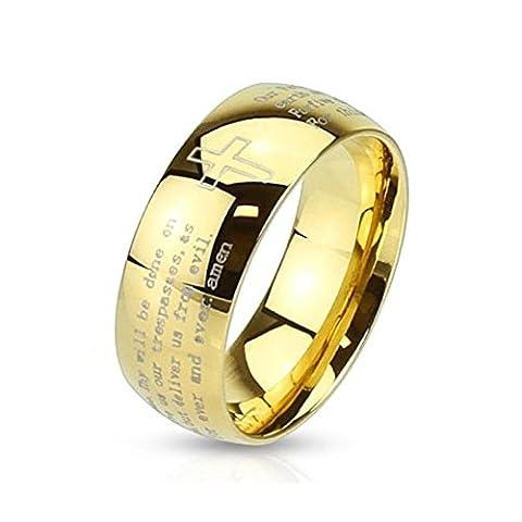 beyoutifulthings religiöser Finger-Ring VATER-UNSER Schmuck Band-Ring Chirurgenstahl 316L Verlobungs-Ring Partner-Ring