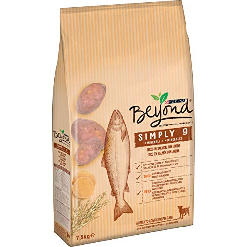 Purina Beyond Simply 9 Crocchette Cane Ricco in Salmone con Avena, 7.5 kg