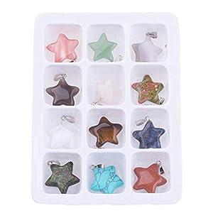 12 x Edelsteinanhänger Stern zufällig gemischte Edelsteine Farben 22 mm Charms Anhänger Perlen