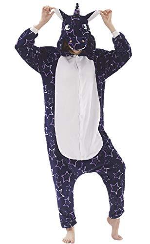Erwachsene Unisex Einhorn Tiger Lion Fox Onesie Tier Schlafanzug Cosplay Pyjamas Halloween Karneval Kostüm Loungewear (Unicorn Purper Star, XL passt Höhe ()