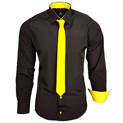 Farbe Krawatte Schwarzes Hemd (Rusty Neal R-44-KR Herren Kontrast Hemd Business Hemden mit Krawatte Hochzeit Freizeit Fit, Farbe:Schwarz/Gelb;Größe:2XL)
