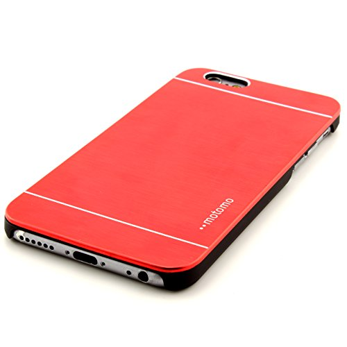 Smartphone Alu Hardcase Handy Hülle iphone 6 Rückseite Cover gebürstet Metall Bumper Rückschale Schutz Zubehör ScorpioCover rot rot