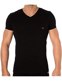 Emporio Armani Camiseta Rainbow Logo in Black