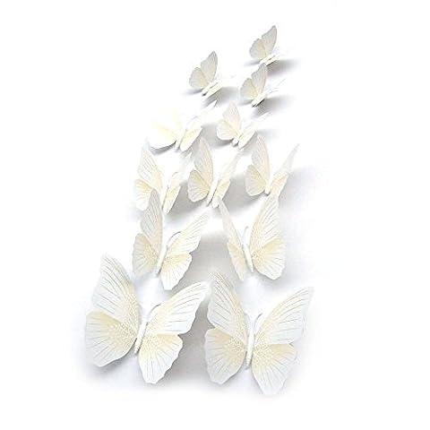 3D Papillon Sticker Mural - TOOGOO(R)12x 3D Papillon Chambre Sticker Mural D'aimant De Refrigerateur Decor Autocollant Applique (Blanc)