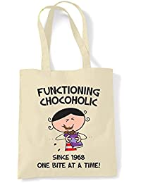 Functioning Chocoholic Since 1968 - One Bite at a Time Women's 50th Birthday Present Tote / Shoulder Bag