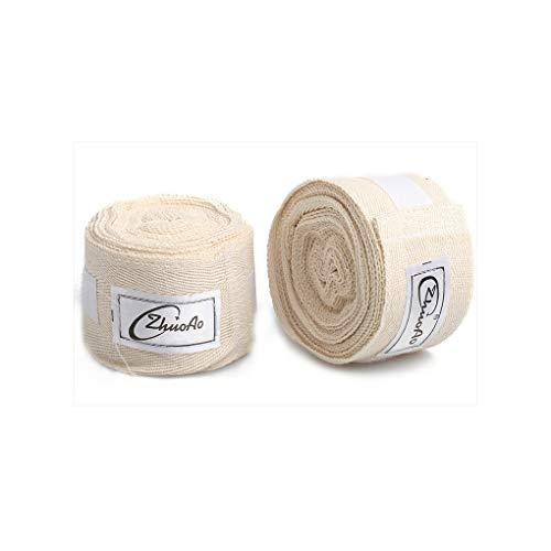 Thai-baumwoll-wrap (Sipaluo Baumwolle 5m Muay Thai Sanda Boxbandage, Sportschweißbandage Hand gewickelt mit Handhandschuhen Sanda, Unisex Adult Boxing Hand Wraps,White,5m)