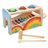 NIWAWA Holz Xylophon, Hammerspiel und DREI Kugeln Musikspielzeug Lernspiel für Kinder