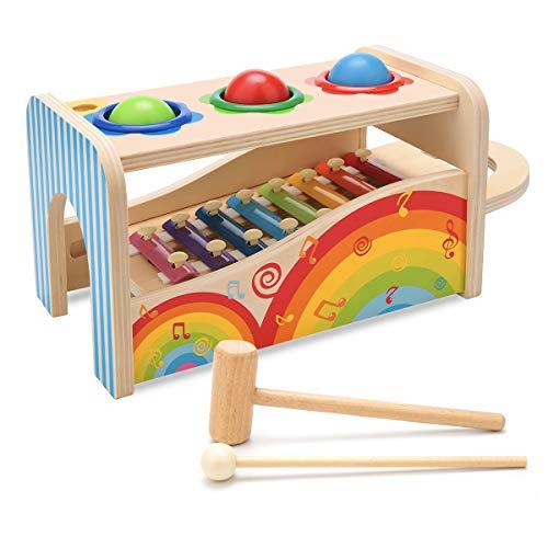 NIWAWA Xilófono de Madera, Mazo y Tres Bolas de Madera Juego Educativo de Juguetes Musicales para Niños