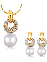 Spargz Gold Plated AD Stone With Pearl Designer Wedding Pendant Necklaces & Drop Earrings For Women ALPS_5060