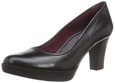 Tamaris 22425, Chaussures à Talons - Avant du Pieds Couvert Femmes - Noir - Schwarz (Black Leather 003), Taille 40 EU