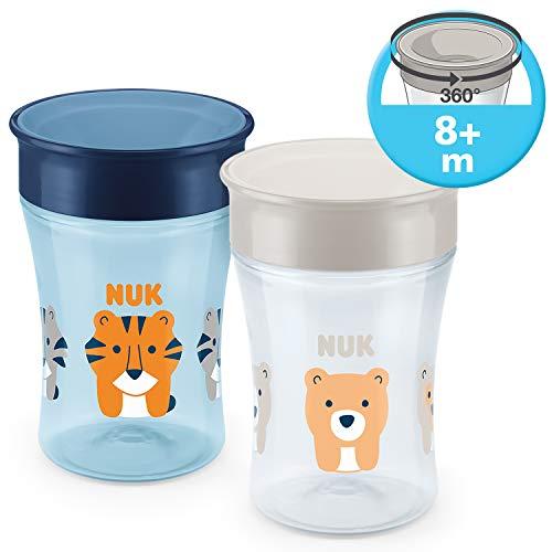 NUK Magic Cup Trinklernbecher 2er-Vorteilspack, 360° Trinkrand, auslaufsicher abdichtende Silikonscheibe, 8+ Monate, BPA-frei, 230 ml, Tiger/Bär (blau/grau) -