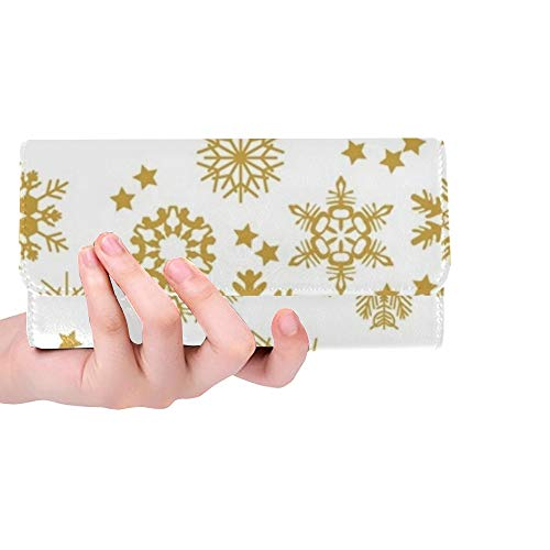 Einzigartige benutzerdefinierte reich panoramische Weihnachten Verschiedene Schneeflocken Frauen Trifold Brieftasche Lange geldbörse kreditkarteninhaber Fall Handtasche