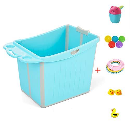 XUEPING Babybadewanne, Haushaltsklappbares Tragbares Schwimmbad Kinder Großer Kunststoff Kann Sitzen Und Stehen Doppelarmlehne Bad Barrel L64 * W47 * H49cm 3 Farben (Farbe : Blau)