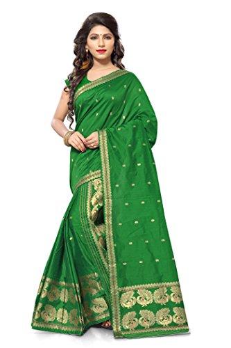 S. Kiran's Women's Assamese Weaving Chanderi Mekhela Chador - Green Mekhla Sador