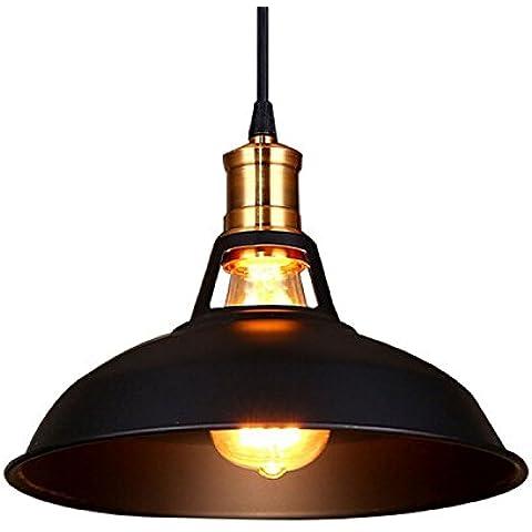 icase4u Portalámparas Colgante Moderno Industrial Edison Lámpara de Techo Metal Vintage Retro Luz de Techo, Color Negro
