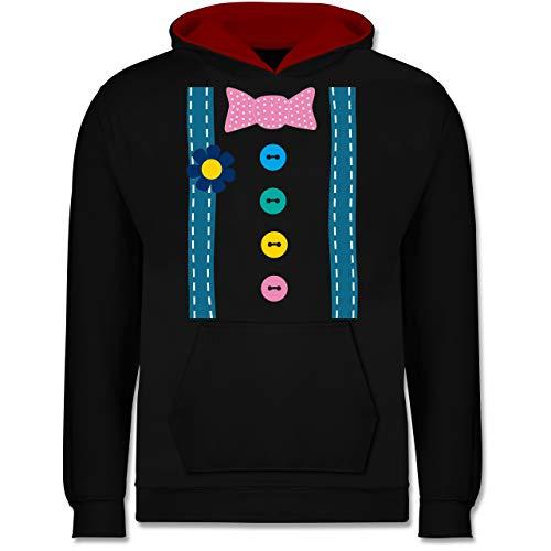 Spaßmacher Kostüm - Shirtracer Karneval & Fasching Kinder - Clown Kostüm - 9-11 Jahre (140) - Schwarz/Rot - JH003K - Kinder Kontrast Hoodie