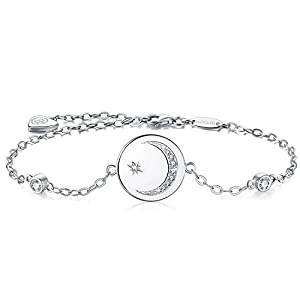 BlingGem Women 18ct White Gold Plated 925 Sterling Silver Round Cubic Zirconia Crescent Moon and Star Bracelet Chain Adjustable