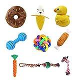 PRAVETTE Hundespielzeug, 9 Stück Kauspielzeug Hund Interaktives Spielzeug Baumwollknoten Spielset Quietschspielzeug Seil Spielzeug für Kleine mittlere große Hunde - Zufällige Farbe
