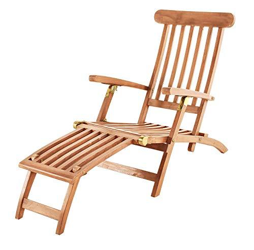 SAM Teak Holz Deckchair, Sonnenliege- Stuhl, verstellbar, geschliffen, zusammenklappbar, Balkon,...