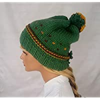 Gorro con pompón de lana para mujer. Hecho a mano. Sombrero en color verde