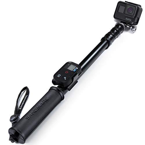 SANDMARC Pole - Metal Edition: 38-127 cm Wasserfest Stick für GoPro Hero 7, Hero 6, Hero 5, Session, Hero 4, 3+, 3, 2, und HD Kameras - with Remote Halterung - Aluminium Teleskopstange Einbeinstativ