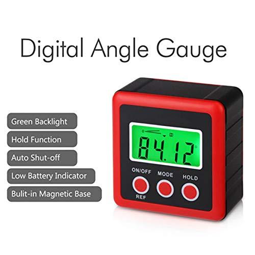 Compteur de jauge d'angle numérique universel à 3 touches LCD Compteur de niveau à bulle Inclinomètre universel - Rouge