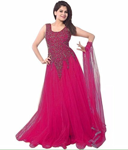 Starword Dresses forWomen's Net Embroidered Semi-Stitched (gown) (GOWN_RED_FREE SIZE)  available at amazon for Rs.248