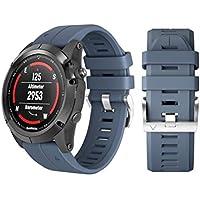 """HKFV Creative - Pulsera de Silicona para Reloj Inteligente de Repuesto para Garmin Fenix 5X Plus, Color Azul Marino, tamaño 6.70""""-8.85"""""""