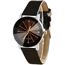 Geneva Platinum 3D Glass Analog Black Dial Women's Watch - GP-127