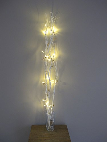 Weidenzweige mit 20 LED´s beleuchtet / warm-weiß / mit goldenen Kugeln / batteriebetrieben / täuschend echt