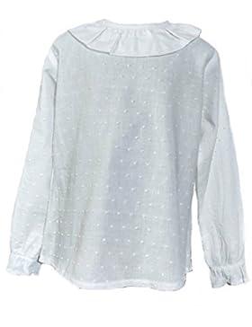 Godettia Camisa Blanca de Plumeti Para Niña