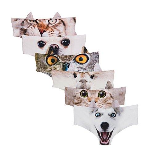 Frauen Tier Ohr Mode Undies 3D Gedruckt Unterwäsche Höschen 6 Pack (Sexy Höschen Tanga)