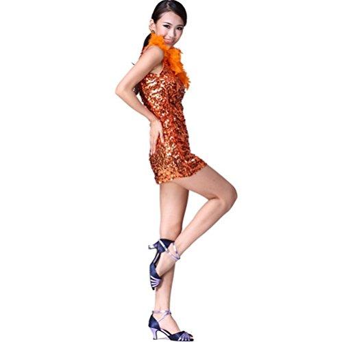 Wgwioo Federn Und Pailletten Einzelne Schulter Latin Tänzer Rock , Orange , (Verkauf Einzelnen Kostüme Tanz)