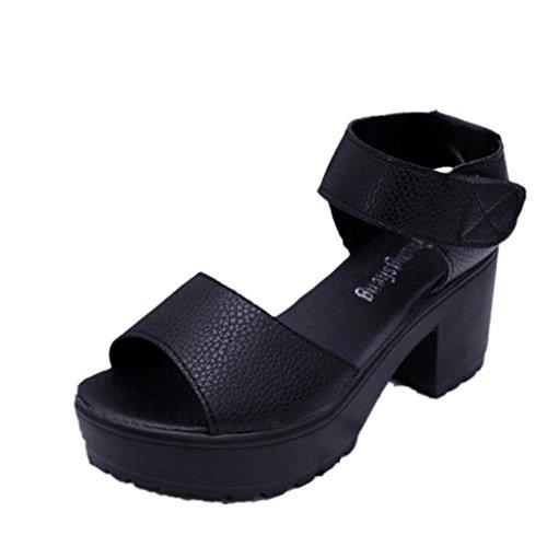 Ouneed® Ete Femmes Sandale Platform Haute Noir