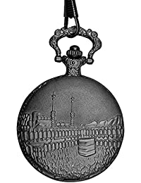 "Dice Pocket watch-SG110"" Unisex Antique case Classic Vintage Rib Chain Quartz, Steel Gray Metallic Tone Steel Grey Outer Body Shows Embossed The Islamic Holy Kaaba masjid Sacred to Muslims."