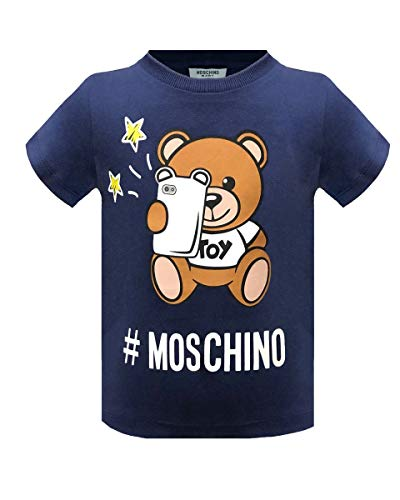 Moschino t-shirt da bimbo/a in cotone, 6/9 mesi, navy