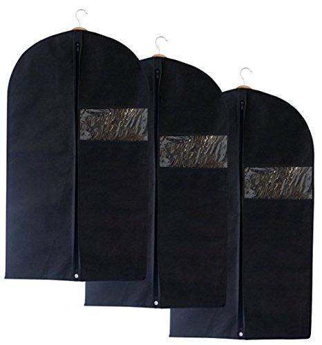 Atmungsaktiv 99,1cm (100cm) Anzug Kleidersäcke mit Secret Innentasche mit Reißverschluss, Schwarz, 3Stück (Teen Kleidung Formelle)