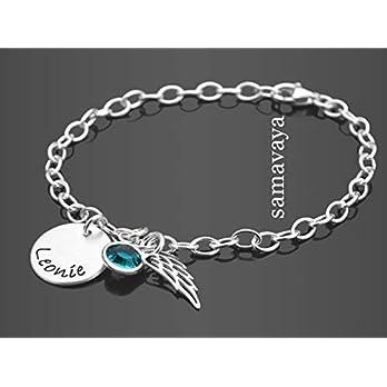 Namensarmband SPREAD YOUR WINGS 925 Silber Armband Gravur Engelsflügel