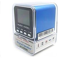 MUSIC ANGEL - Minirreproductor portátil (diseño de cubo, sonido estéreo, incluye altavoz, radio, reloj, despertador, puerto USB y ranura para tarjetas microSD), color azul
