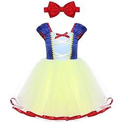 iEFiEL Disfraz de Princesa para Bebé Niña (1-5 Años) Vestido Infantil de Fiesta Carnaval Actuación Ceremonia Cosplay Azul y Amarillo 12 Meses