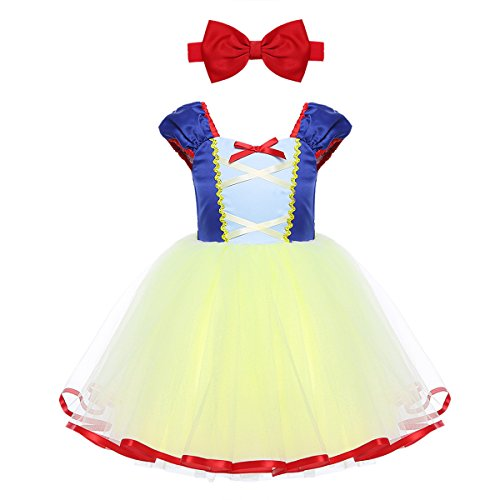 iiniim Mädchen Kleid Prinzessin Märchen Kleid Schneewittchen Kostüm Kinder Festlich Kleid Halloween Fasching Karneval Cosplay Party Kleid Blau&Gelb 80/12 - Märchen Party Kostüm