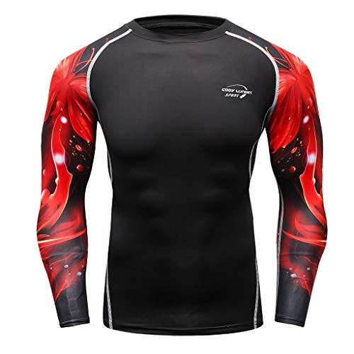 irts Männer Langarm Yoga Fitness Print Trainingsshirt Atmungsaktive Sport Tight Kompressionsshirt Sommer Casual Sport Fitness Outfits ()