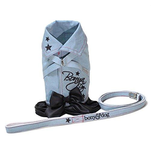 bonyndog Denim Star Rock Hundegeschirr + LEASH Set, 4Größen, Hund Kleidung Haustier Zubehör