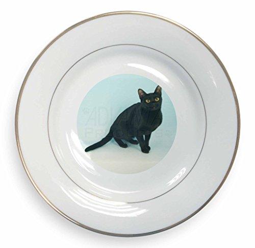 Advanta - Plates Noir Chat de Bombay Boîte Feuille d'or Plaque de Bord n Cadeau Cadeau de Noël